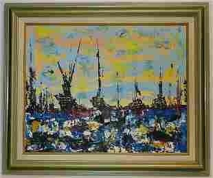 Marine Abstract Painting Signed Impressionist Californi