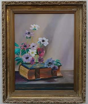 Vintage Still Life Flowers Oil Painting Artist Signed