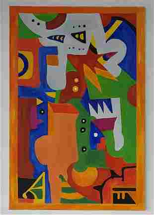 Modern Abstract Contructivismo Expressionism Painting.