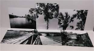 Lot of 6 Signed Black & White Landscape . Indian River-