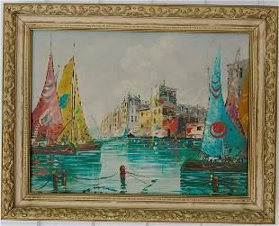1962 Italian Venetian Oil Painting on Canvas Framed