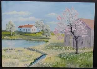 Vintage Landscape Oil- Painting on Canvas Panel. Signed