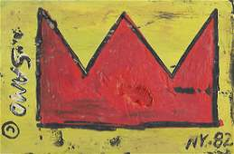 Signed JMB Mixed Media Painting on Thick Cardboard