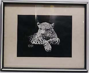 Vintage Tiger Print lithograph E.L. Wood Signed