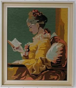 Vintage PA 1956 Girl Reading Framed Needle Point Framed
