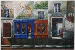 Paris French Street Shops Cafe Bar Studio Large Oil Pai