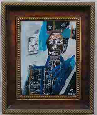 Jean-Michel Basquiat (American,1960-88)-Framed Painting