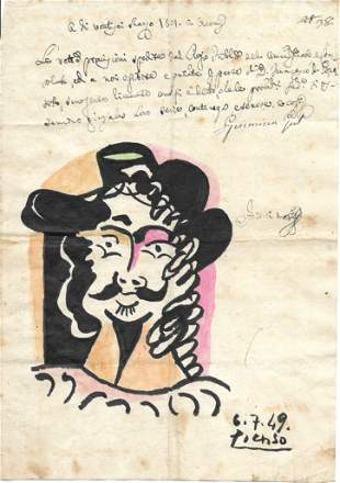 Picasso Drawing Signed.Old Mixed Media on Paper. Figure