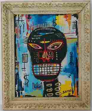 Jean-Michele Basquiat NYC Street Art Painting Framed