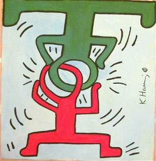 Signed Keith Haring Abstract Canvas Painting,Modern Art