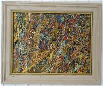 Jackson Pollock Abstract Expressionism Signed Painting.