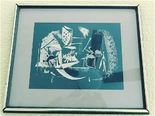1970's Original Mid Century Pablo Picasso Lino Cut