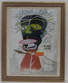 Jean-Michel Basquiat - Black -Nero - Framed Painting