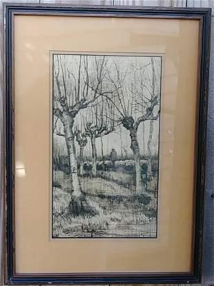 Vintage Van Gogh Pollard Birch Winter Landscape Print.
