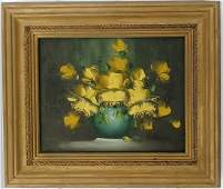 Sign Baron Flower Oil Painting on Masonite Framed
