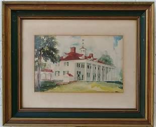 Vintage 1970 N York Watercolor Framed Painting