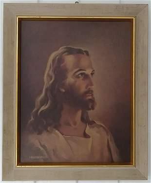 Vintage Christ Art Prints Lithograph Framed.