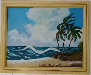 Hawaii Kailva-Kona Beach Park Plain Air Oil Painting on