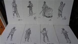 Charles M Russell (1864-1926)15 Famous Sketches Print