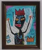 Jean-Michel Basquiat - Framed Painting- Underglass