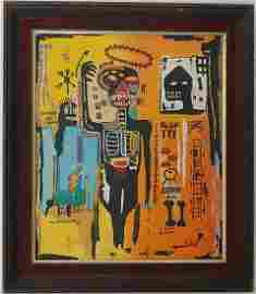 Jean-Michele Basquiat NYC Street Art Painting Framed