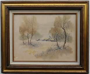 Vintage Signed Watercolor Framed