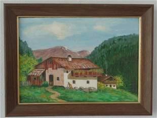 Original Vintage Oil Painting Farm by Gleen