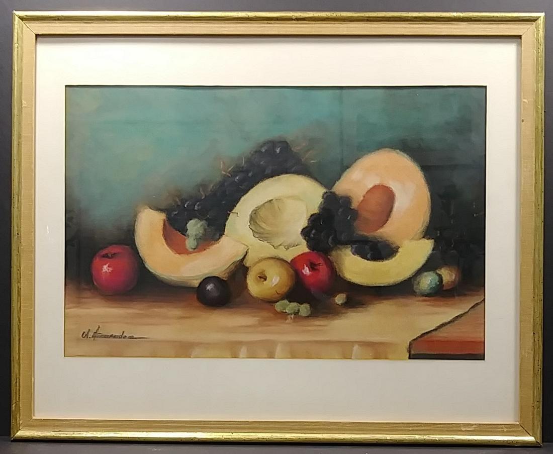 Fernandez Vintage Still Life Pastel Painting