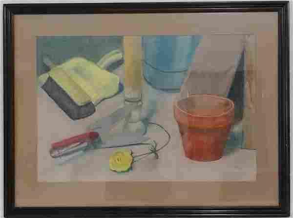 Vintage Pastel Charcoal Signed C.Cobus Painting Framed
