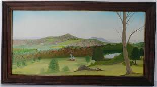 PA Deer Landscape Farm Oil Painting on Canvas Framed