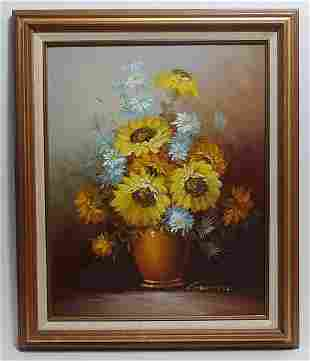Robert Cox (Ame) Oil Painting Bouquet of Flower