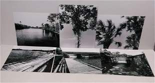 Lot of 6 Signed Black & White Landscape . Indian River-