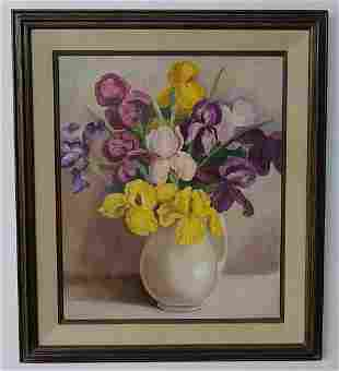 1971 Toshi. N Bouquet of Flower Oil Painting Signed