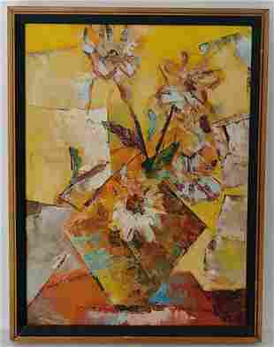 Modern N York City Abstract Art Oil Painting Signed