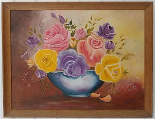 A.Bettiol (CA)Bouquet of Roses) Oil Painting On Canvas.