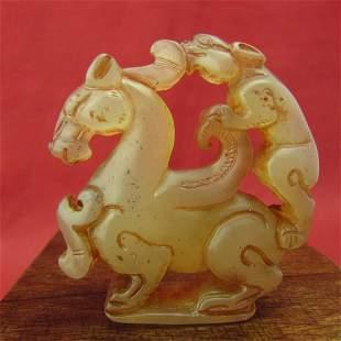 Antique Natural Hand Carved Jade Horse Pendant
