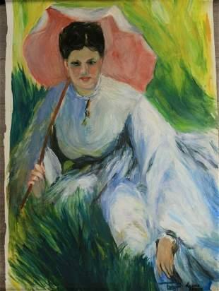 Signed Impressionism Painting D'Apres After Renoir Oil