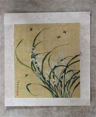 Chinese History Calligraphy Colored Print Scroll