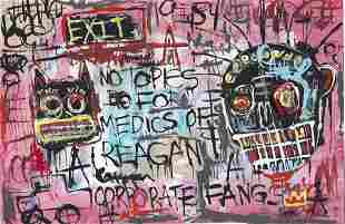 Jean-Michele Basquiat - Painting on Thick Paper . Paint