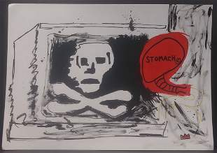 Michel Basquiat- Stomach - Mixed Media Painting