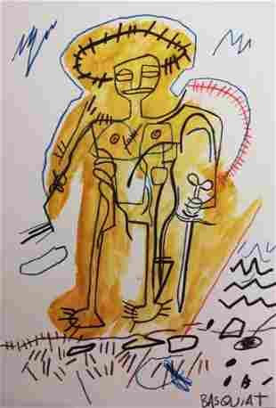 Michel Basquiat- Self Portrait - Mixed Media Painting
