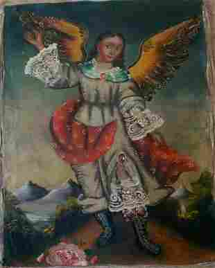 Old Cusco Religious Hand Painted Painting on Canvas
