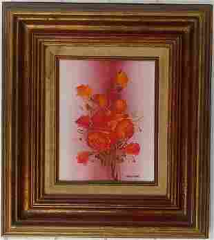Red Roses Flower Signed W Oil Painting on Canvas Framed
