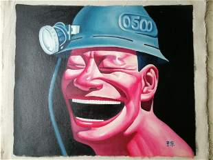 Modern Oil Painting on Canvas Asian Happy Face
