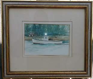 Vintage 1980 N York Watercolor Painting Signed