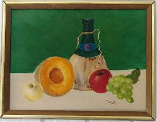 Signed Lucille Fruit Oil Painting Framed - Canvas Board