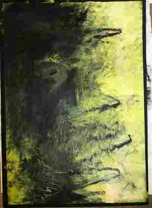 Abstract Oil Bar Painting on Paper Signed 1982 Rome Ita