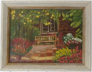 Sign Cottage House Oil Painting on Canvas Framed
