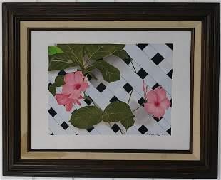 Pink Flower Oil Painting Framed
