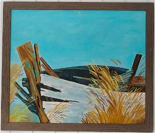 Old boat Seaside Oil Painting on Canvas Framed